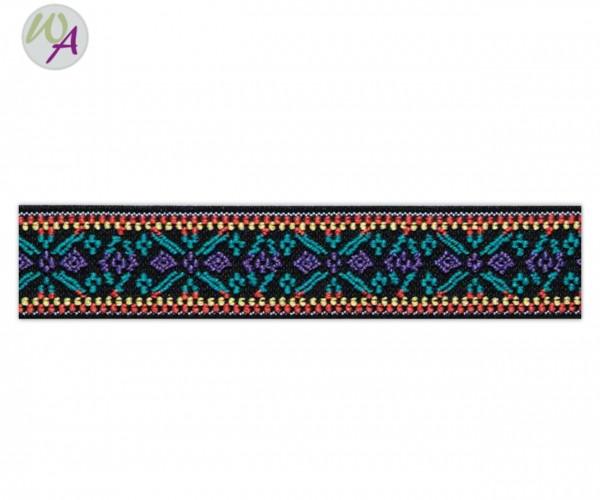 PRym Color Elastic Breit 25 mm Farbe lila - türkis