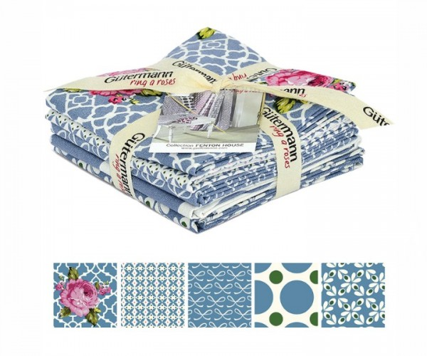 Fenton House Fat Quarter Bundles blau Gütermann ring of roses