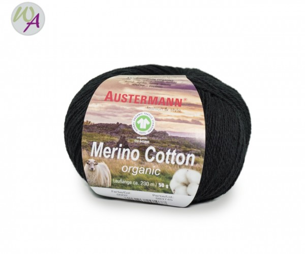 Austermann® Merino Cotton organic Farbe 02 schwarz