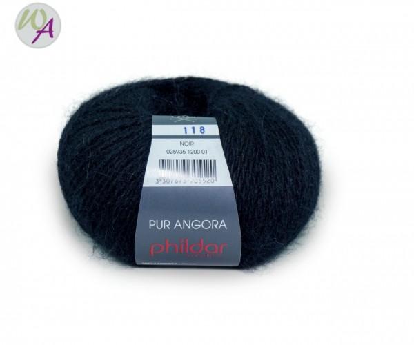 Pur Angora Phildar Wolle 1200 Noir