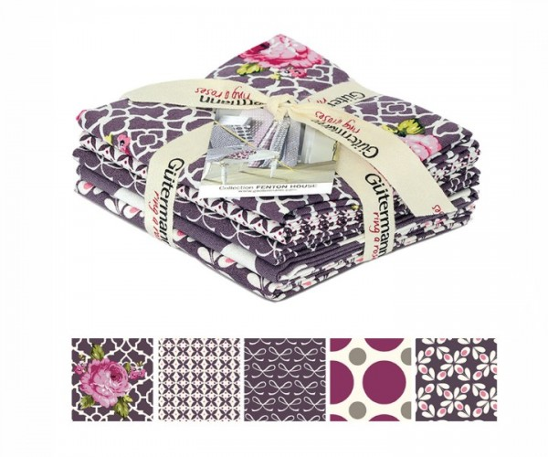 Fenton House Fat Quarter Bundles purple Gütermann ring of roses