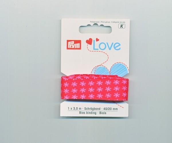 Prym Love Schräegband 902811 rote blumen